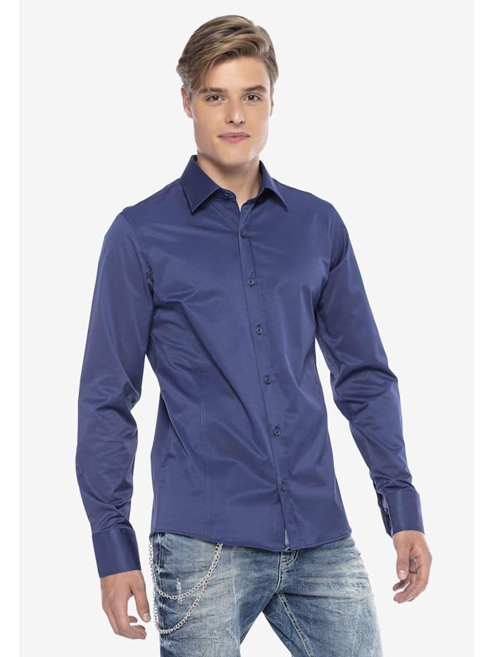 Cipo & Baxx Hemd im trendigen Slim-Fit-Schnitt, NAVYBLUE