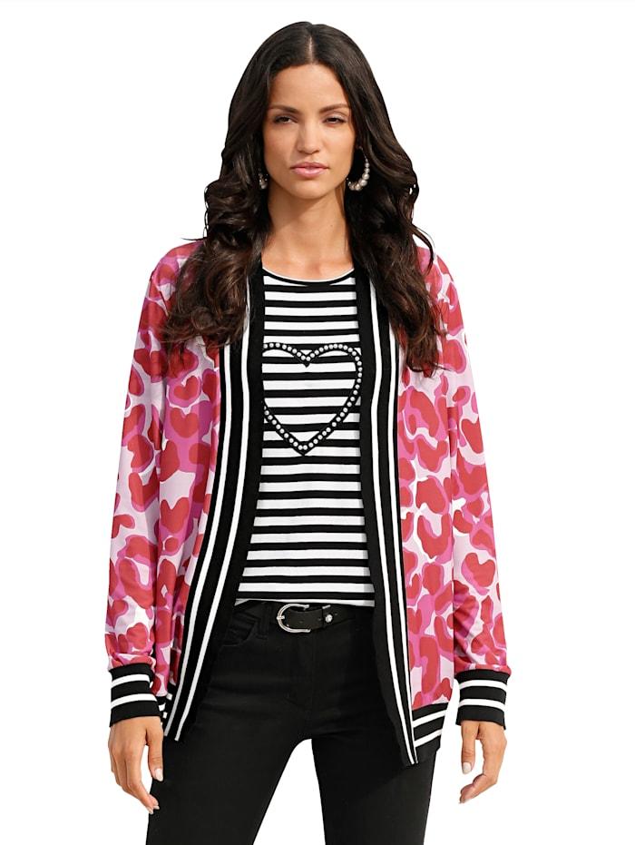 AMY VERMONT Jasje met print rondom, Rood/Pink/Zwart/Offwhite