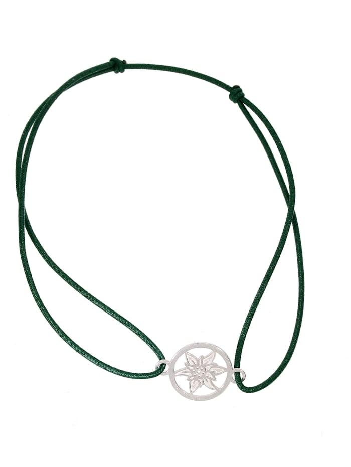 1001 Diamonds Edelweiss Armband 925 Silber, grün