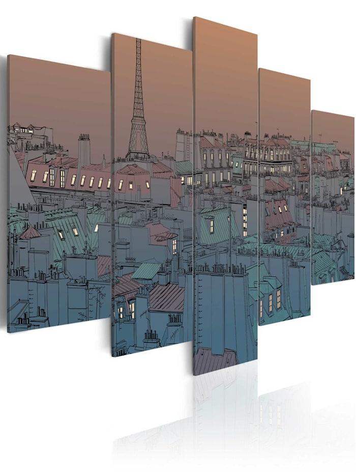 artgeist Wandbild Paris - Einbruch der Nacht, Dunkelblau,Orange