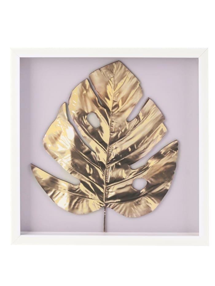 IMPRESSIONEN living Bild, floral, 3D-Optik, hellgrau/goldfarben