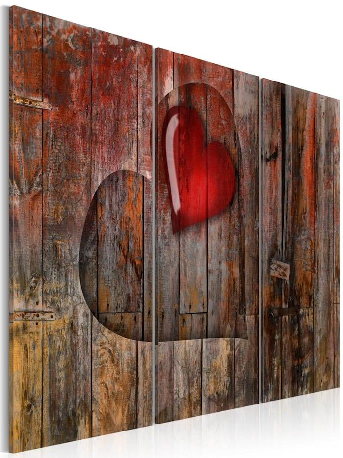 artgeist Wandbild Heart to heart, Grau,Braun,Rot