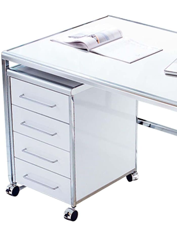 Living Rollcontainer, 4er, Weiß