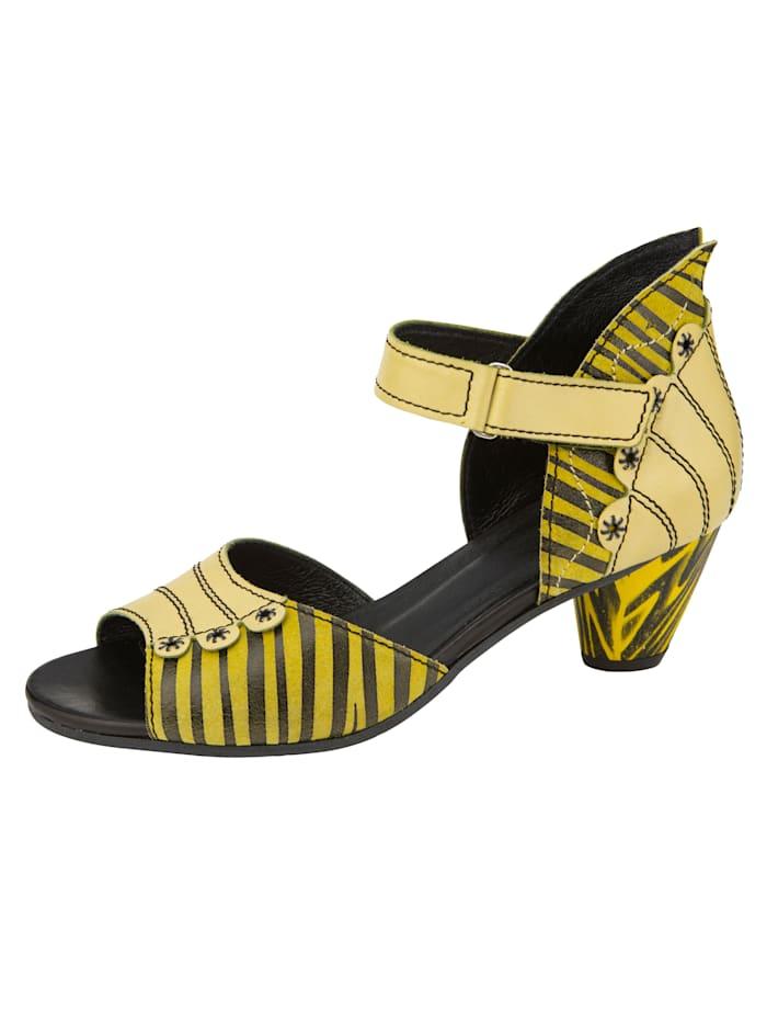 Simen Sandale in extravaganter Optik und Streifendesign, Gelb/Schwarz