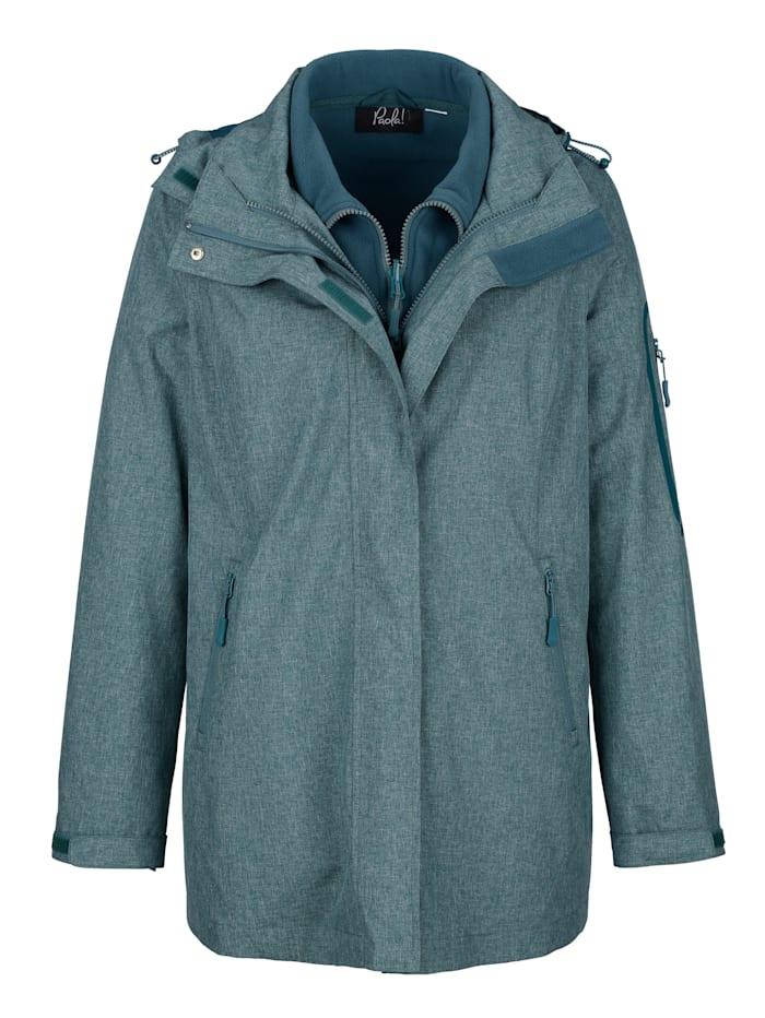 Paola Outdoorjas met geïntegreerd fleece vest, Turquoise