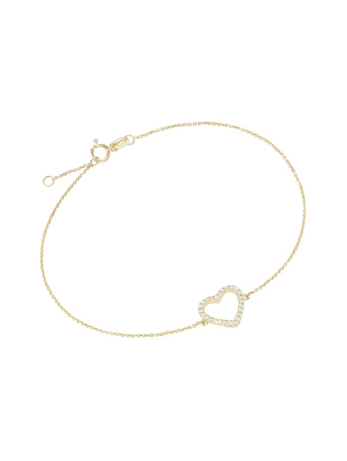 Luigi Merano Armband Mittelteil Herz mit Zirkonia, Gold 375, Gold