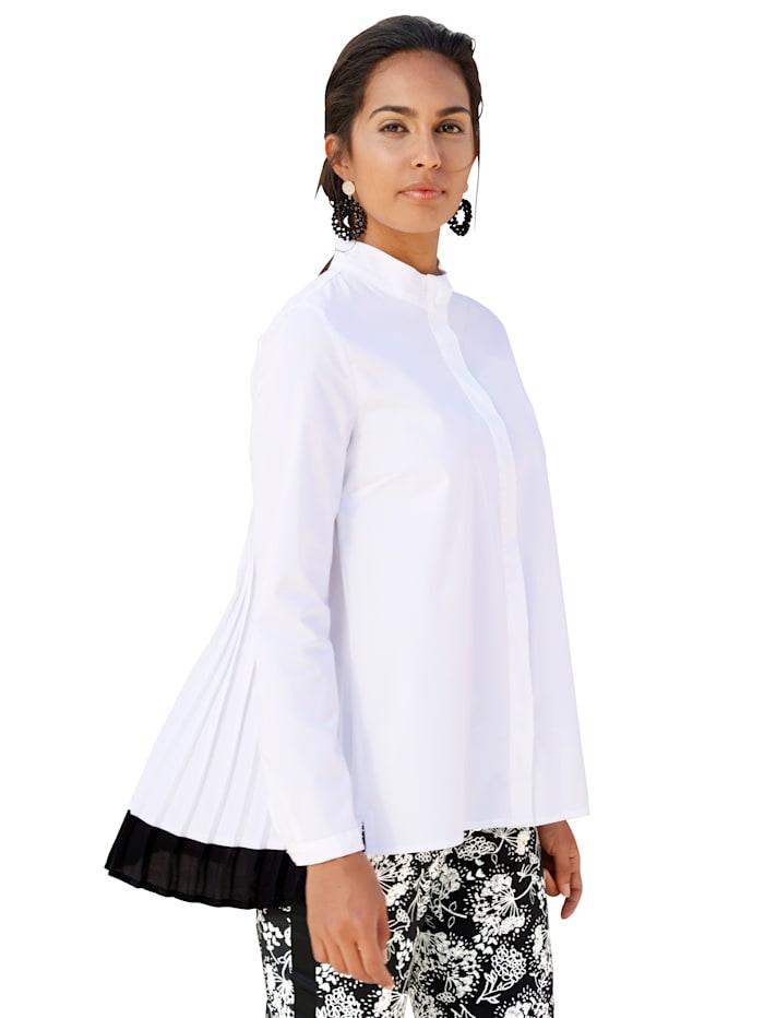 AMY VERMONT Bluse mit Plissee-Einsatz, Weiß/Schwarz