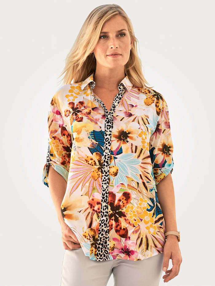 Just White Blouse in bold print mix, Yellow/Ivory