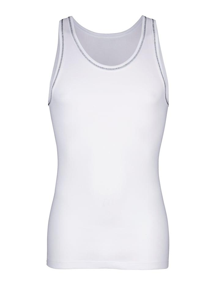 Hemden per 3 stuks met contrastkleurige flatlocknaad