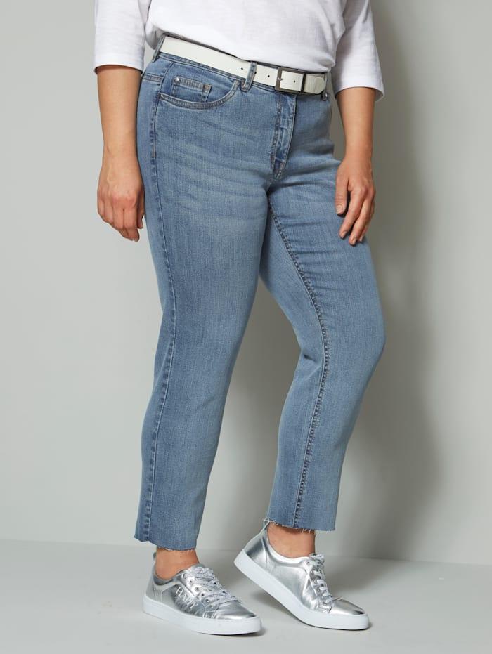Angel of Style Jeans mit offenem Saum, Blau