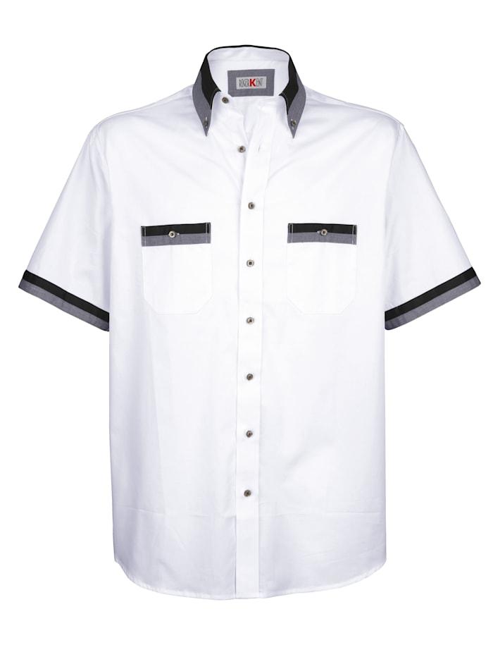 Roger Kent Skjorta med kontrastdetaljer, Vit