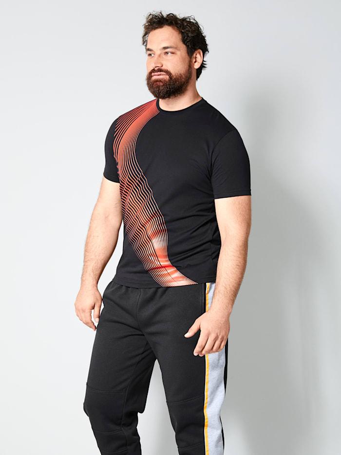 Men Plus T-shirt met contrasterende print, Zwart/Oranje