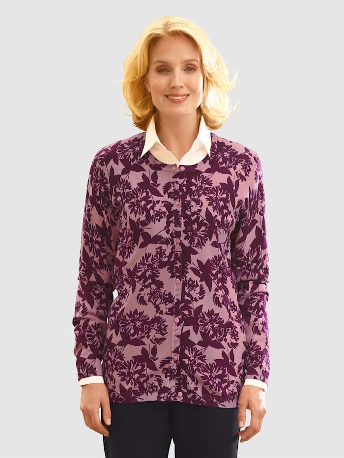 Paola Gilet maille à motif floral, Vieux rose/Baies