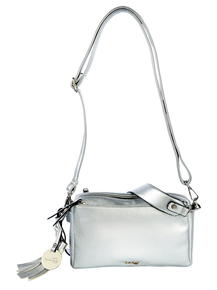 Taschenherz Shoulder bag with three zipped compartments, Silver-Coloured