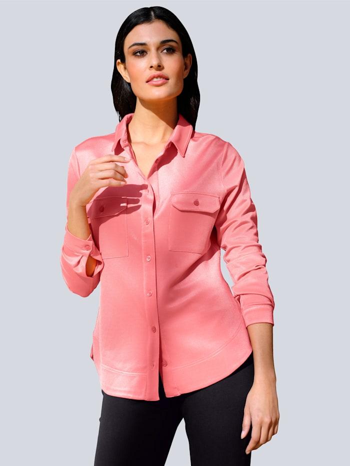 Alba Moda Jersey blouse in een makkelijk te combineren kleur, Koraal
