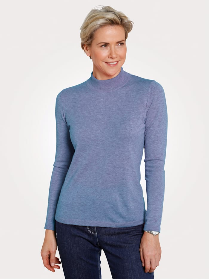 MONA Pull-over en laine mérinos mélangée, Bleu