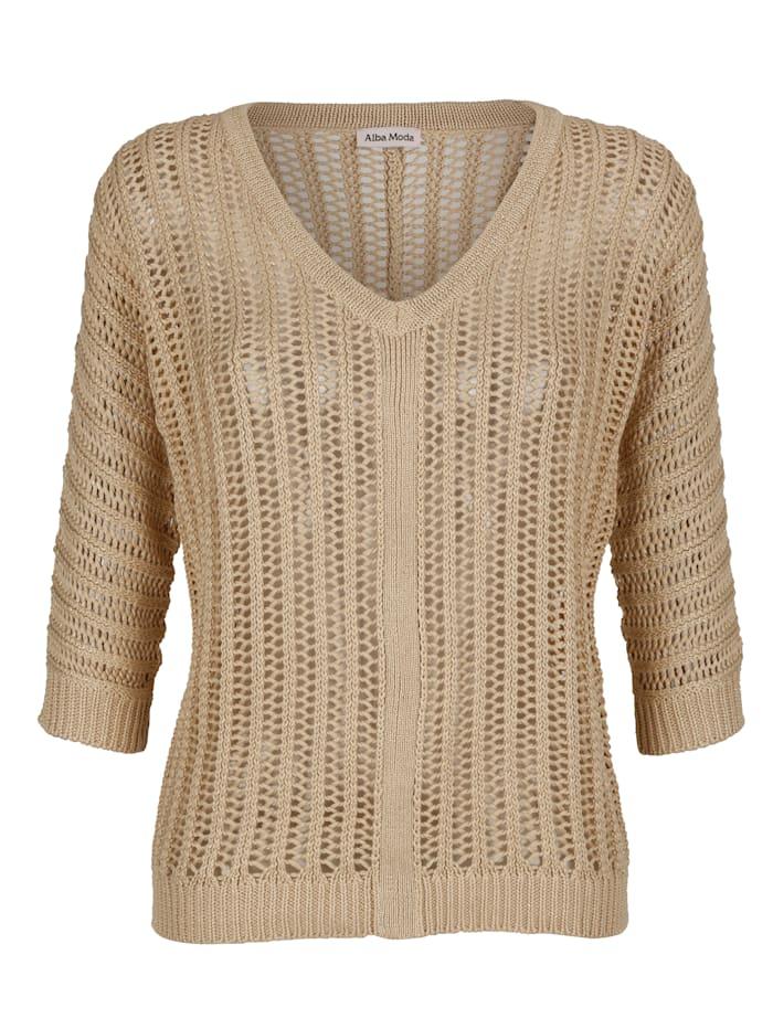 Alba Moda Pullover in Ajourstrick, Camel/Goldfarben