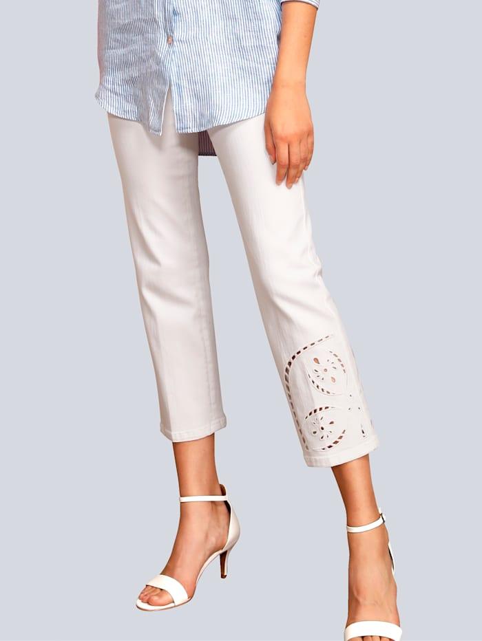 CAMBIO Jeans mit Lochstickerei, Weiß