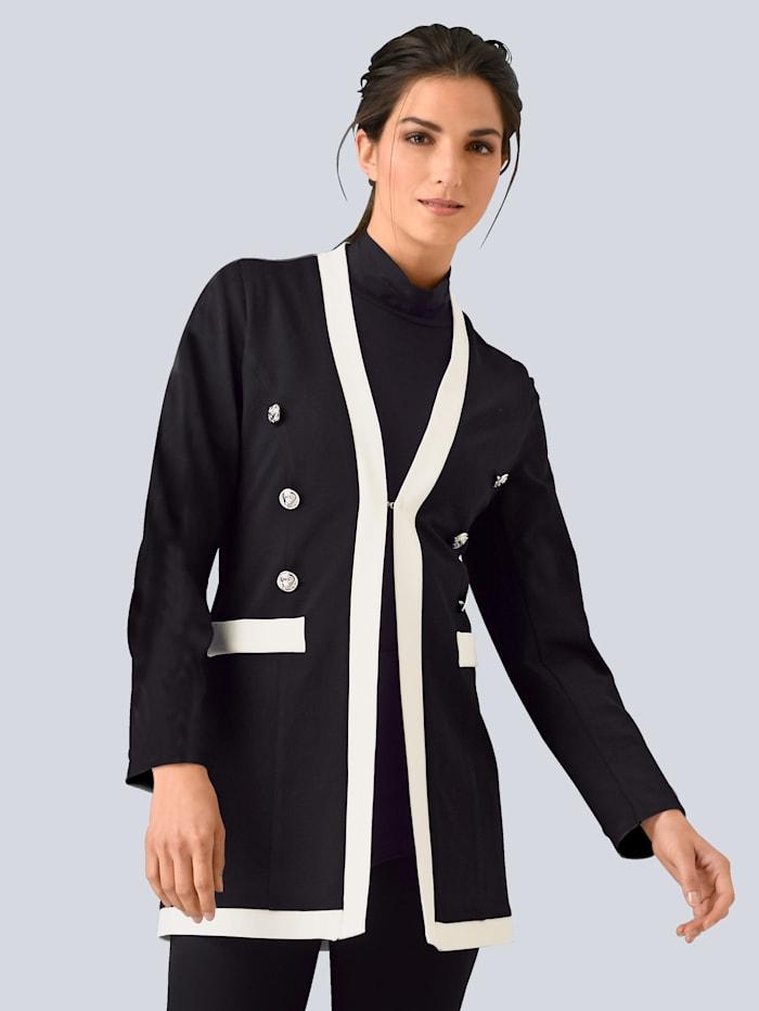 Alba Moda Blazer mit kontrastfarbenen Blenden, Schwarz/Off-white