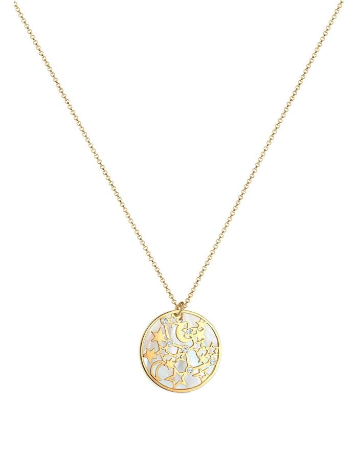 Halskette Astro Sterne Perlmutt Kristalle Silber