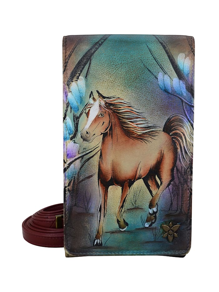 ANUSCHKA Brieftasche Free Spirit aus handbemaltem Leder, mehrfarbig