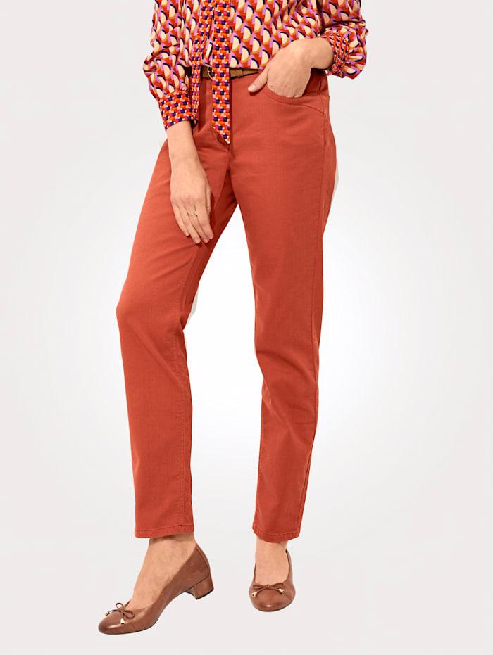 MONA Jeans mit Zierbiesen und Strasssteinchen, Terracotta