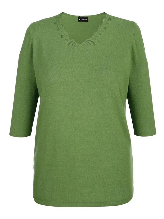 m. collection Tröja med vågformad kant i ringningen, Grön