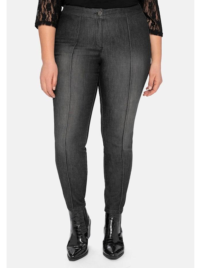 sheego by Joe Browns Jeans »die Schmale«, mit streckenden Biesen, black Denim