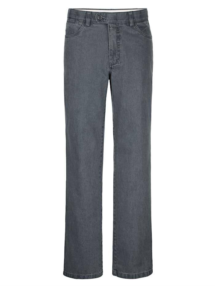 Roger Kent Swing-Pocket Jeans in bügelfreier Qualität, Grau