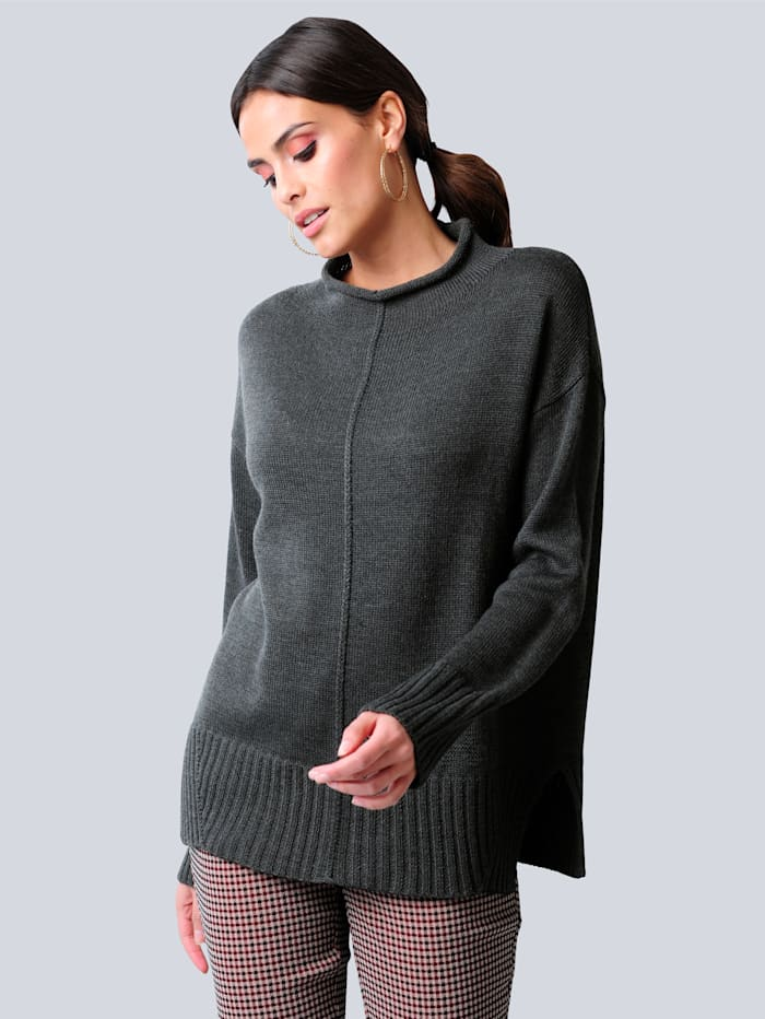Alba Moda Pullover in reduzierter Oversized-Form, Anthrazit