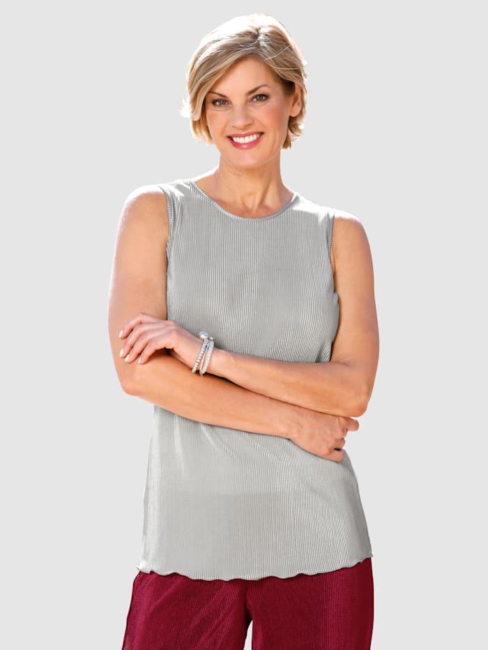 Paola Plissee-Top mit breiten Trägern, Hellgrau