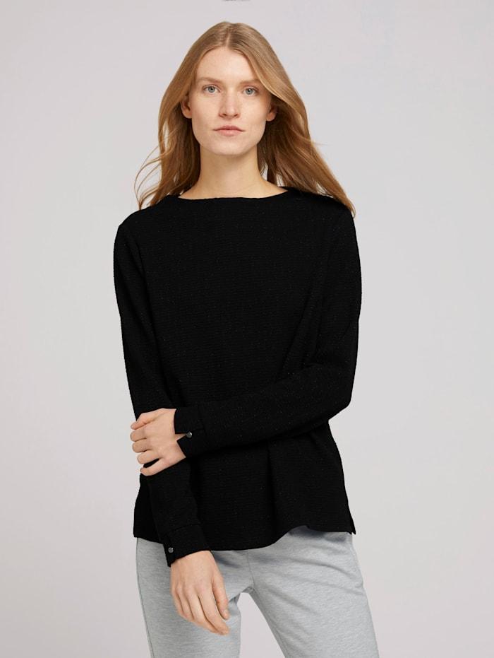 Tom Tailor Strukturiertes Sweatshirt mit Glitzer, Deep Black