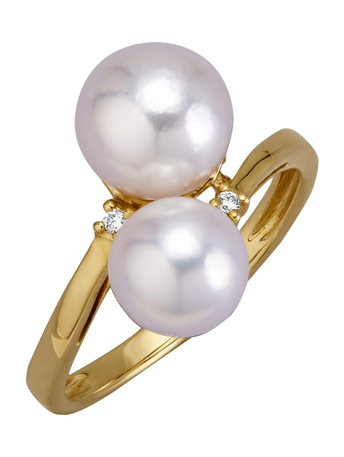 Diemer Perle Damesring met witte Akoya cultivé parels, Wit