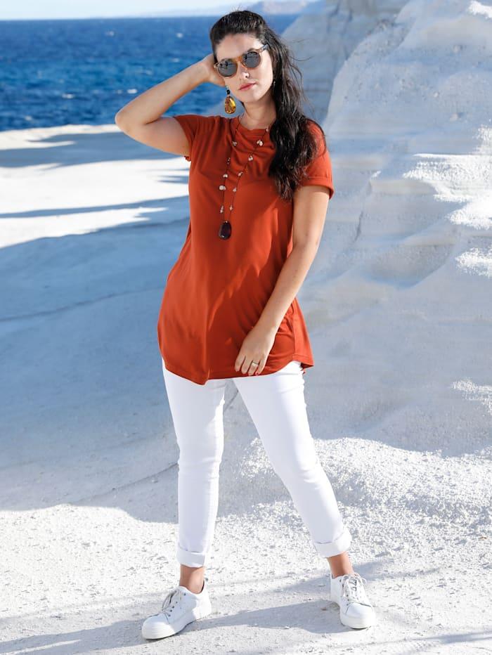 MIAMODA T-shirt long à encolure féminine, Brique