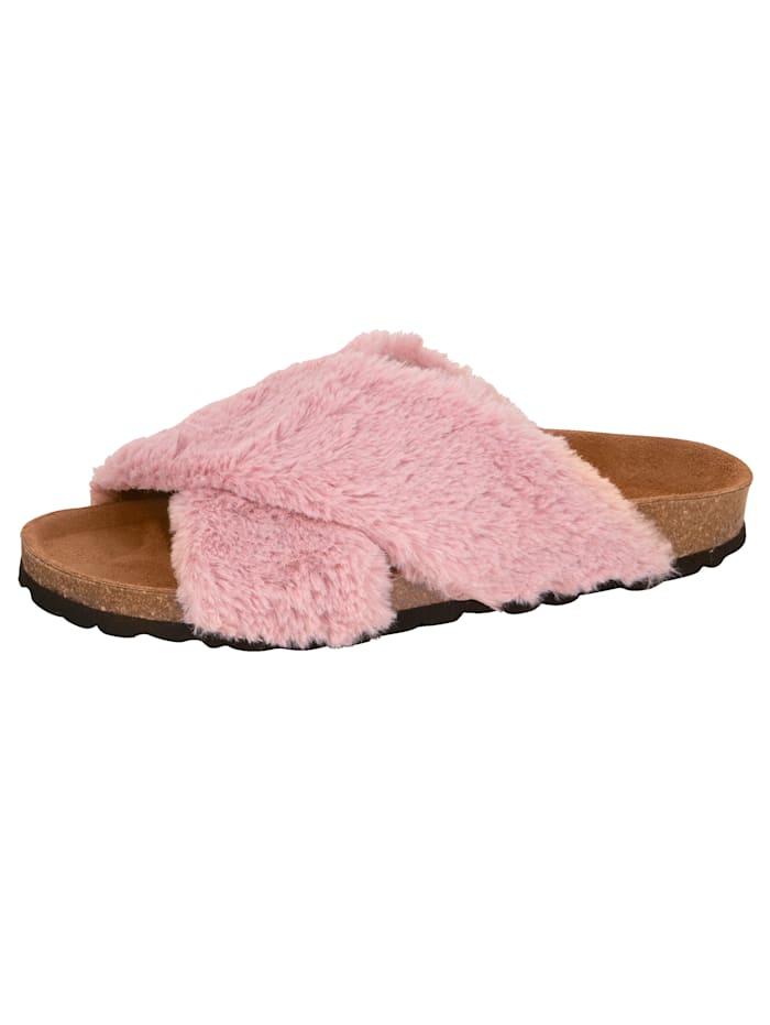 Muiltje van pluizig imitatievacht, Roze