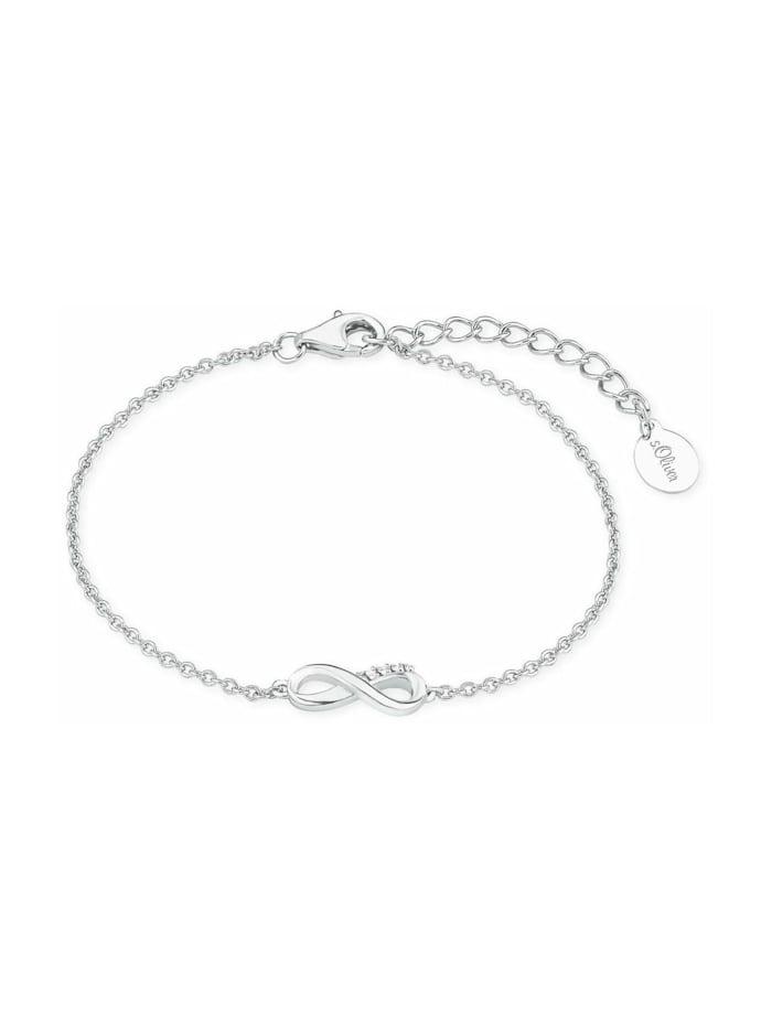 s.Oliver Armband für Damen, Sterling Silber 925, Zirkonia Infinity, Silber