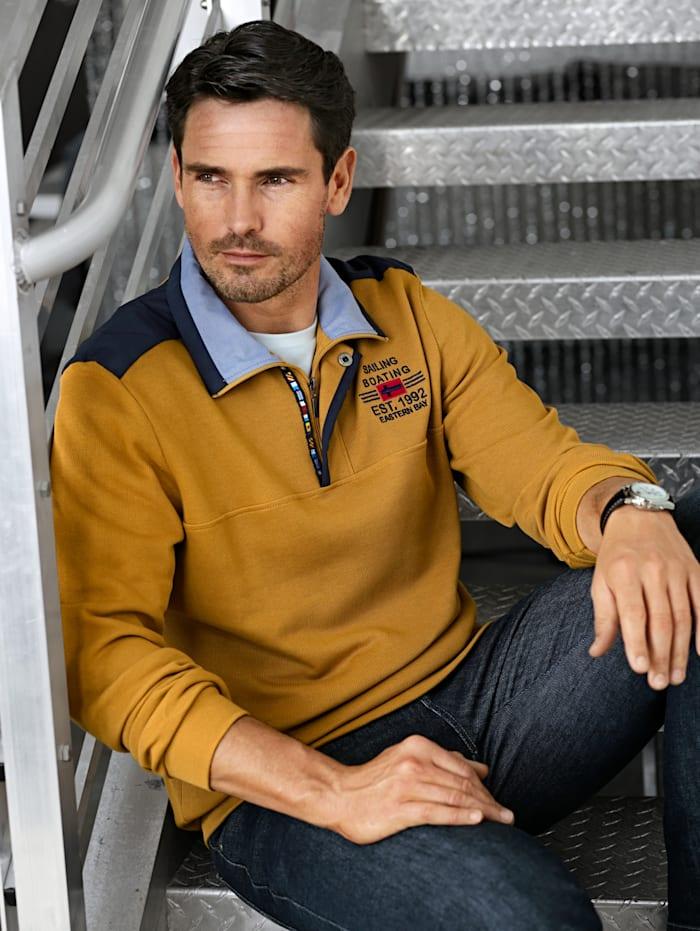 BABISTA Sweatshirt met luxueuze kraag, Geel
