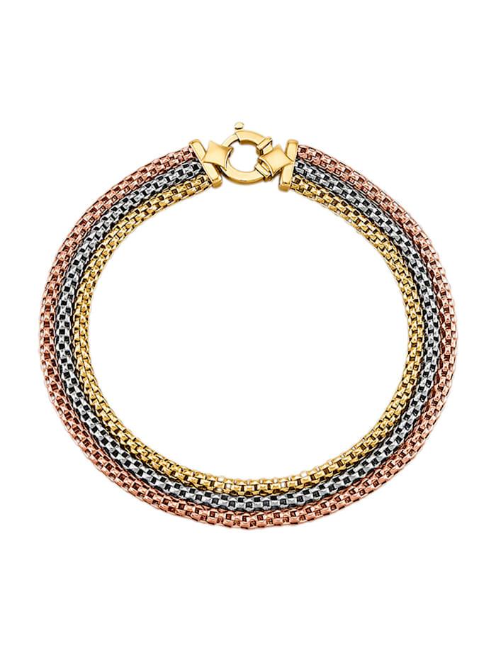 Amara Or Bracelet 3 rangs en or jaune 585, Multicolore