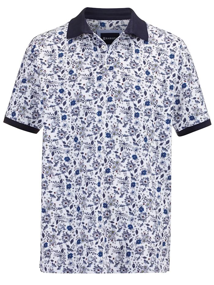 BABISTA Poloshirt floral bedruckt, Weiß/Marineblau