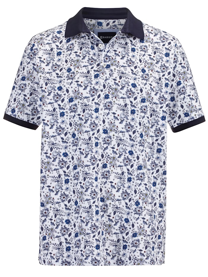 BABISTA Poloshirt met bloemenprint, Wit/Marine