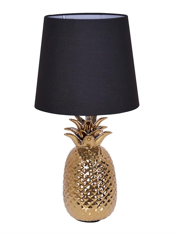 Näve Lampa med ananasformad lampfot, svart/guldfärgad