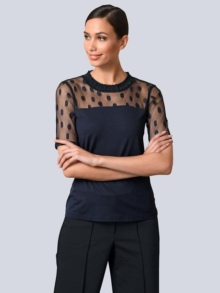 Alba Moda Shirt mit modischen Mesh-Einsätzen, Marineblau