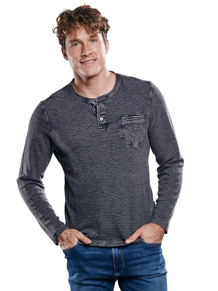 Engbers Henley Shirt mit Waffelstruktur., Schwarz