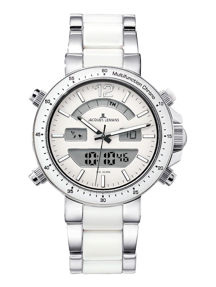 Jacques Lemans Herrenuhr-Chronograph Serie Milano 1-1714B, Weiß/Silberfarben