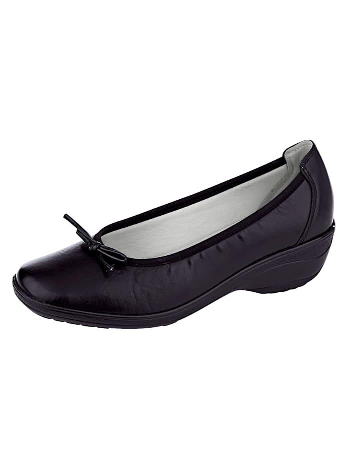 Naturläufer Ballet Court shoes with fashionable decorative bows, Black