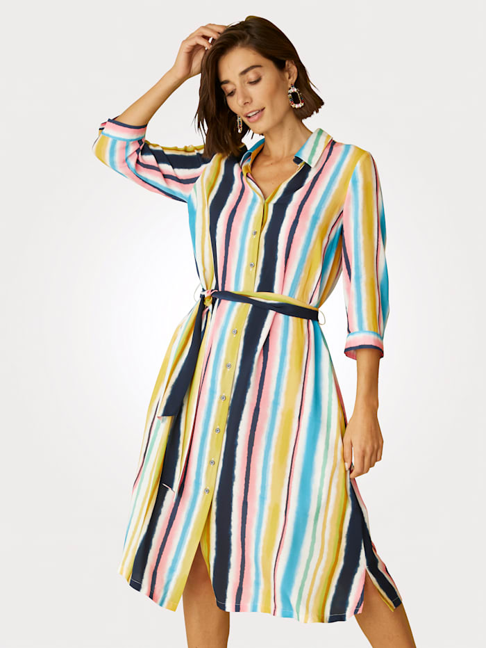 Blusenkleid in modischem Streifendessin