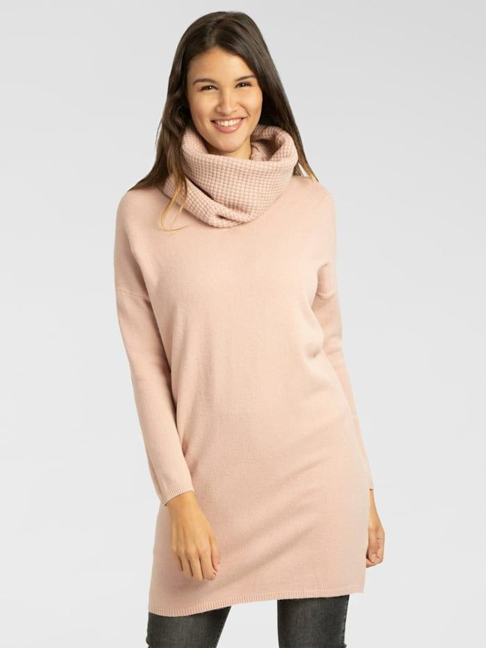APART Strickkleid / Long Pullover mit geradem Schnitt, rosa