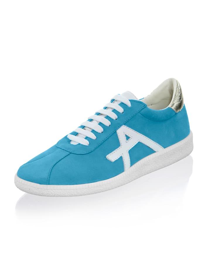 Alba Moda Sneaker aus Veloursleder, Hellblau/Weiß
