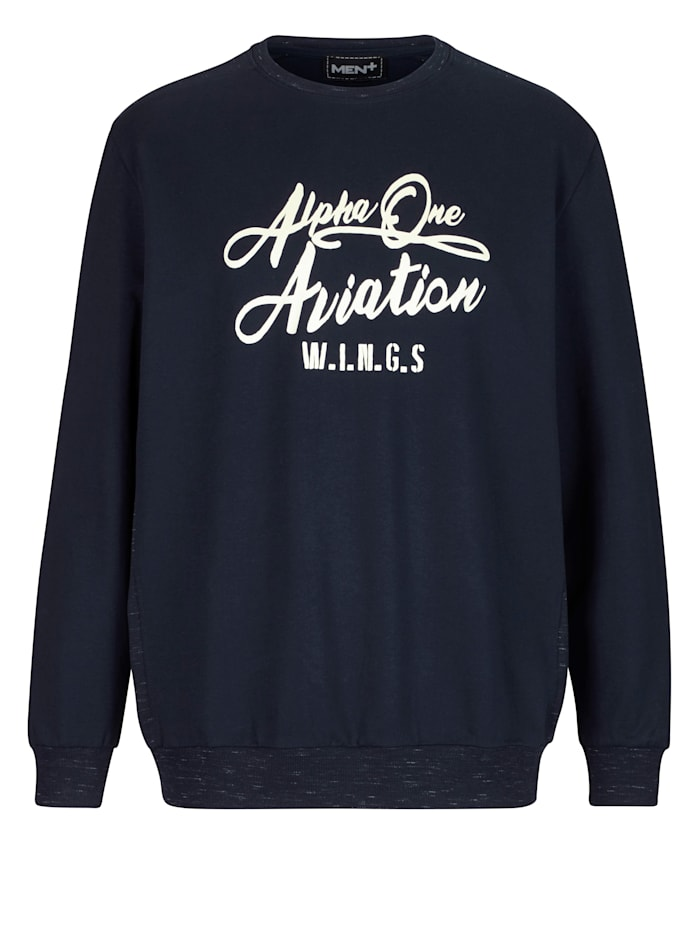 Men Plus Sweatshirt van gemêleerd materiaal, Marine
