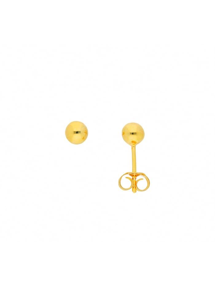 1001 Diamonds Damen Silberschmuck 925 Silber Ohrringe / Ohrstecker Ø 5 mm, vergoldet